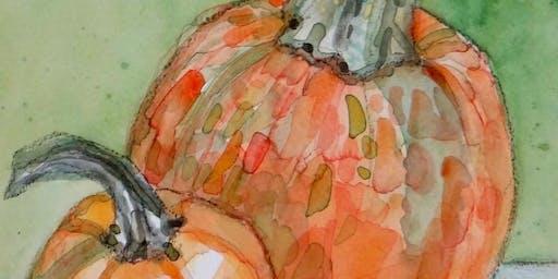 Art Class with Michelle Cordova Watercolor Pumpkins