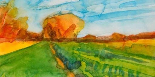 Watercolor Autumnal Landscape