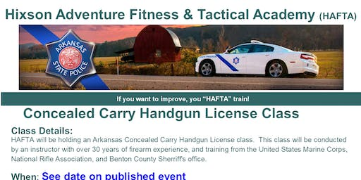 Arkansas Concealed Carry Handgun License Class - July 27th 2019