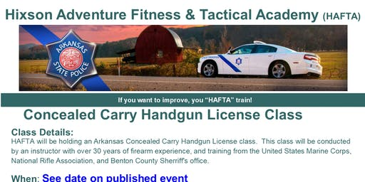 Arkansas Concealed Carry Handgun License Class - August 24th 2019