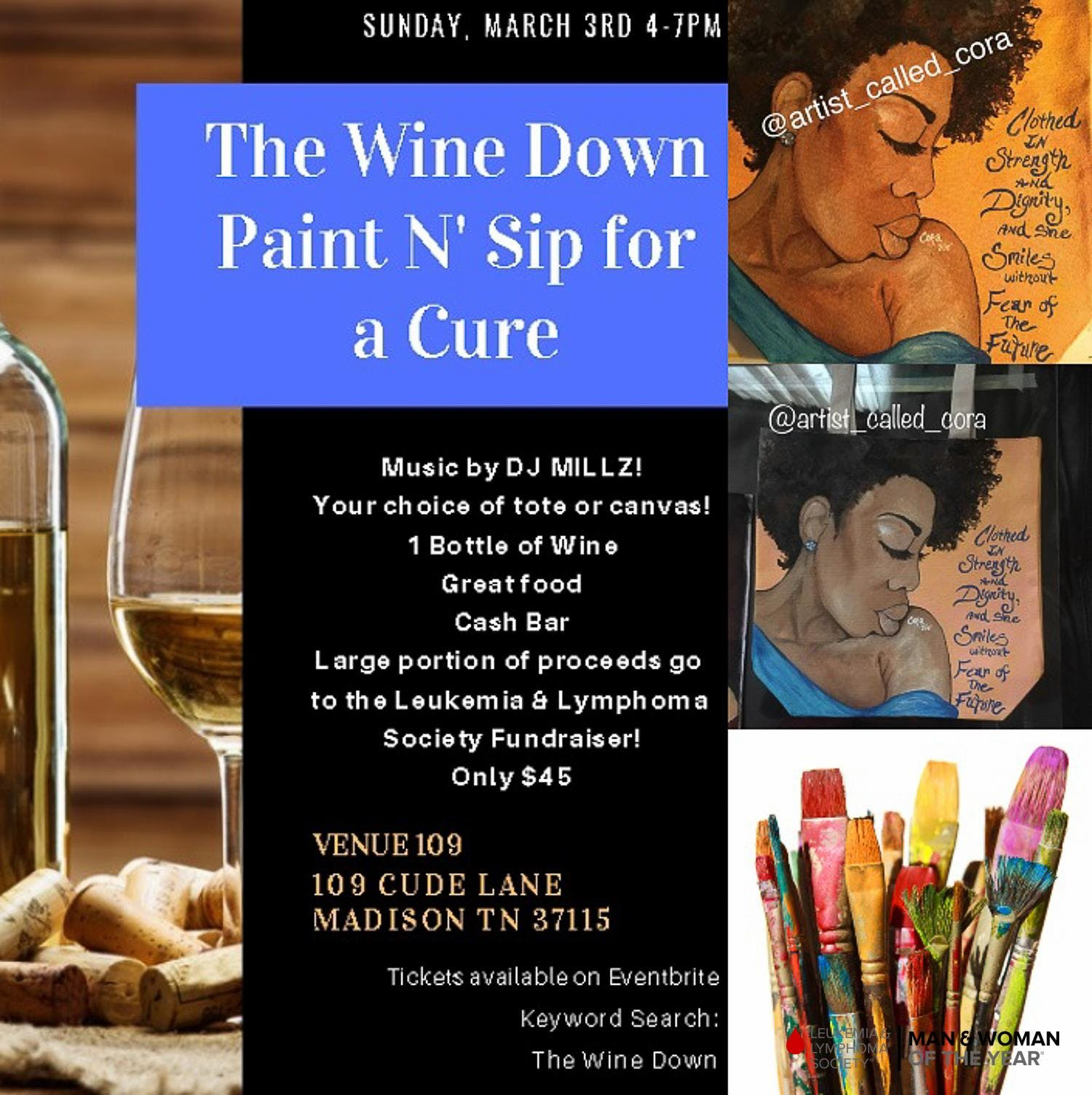 The Wine Down Paint N Sip For A Cause 3 Mar 2019
