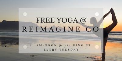Free Yoga at Reimagine Co on Tuesdays