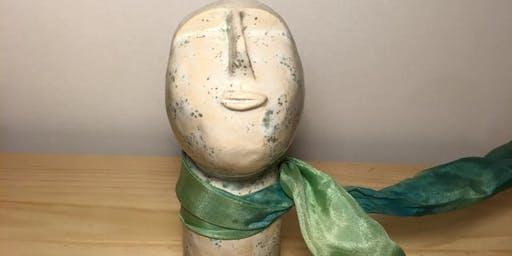 UP.Acessórios - Colar de gravata seda com peça em cerâmica, by Brâmica