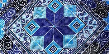 Palestinian Tatreez Embroidery: Waste Canvas on Denim