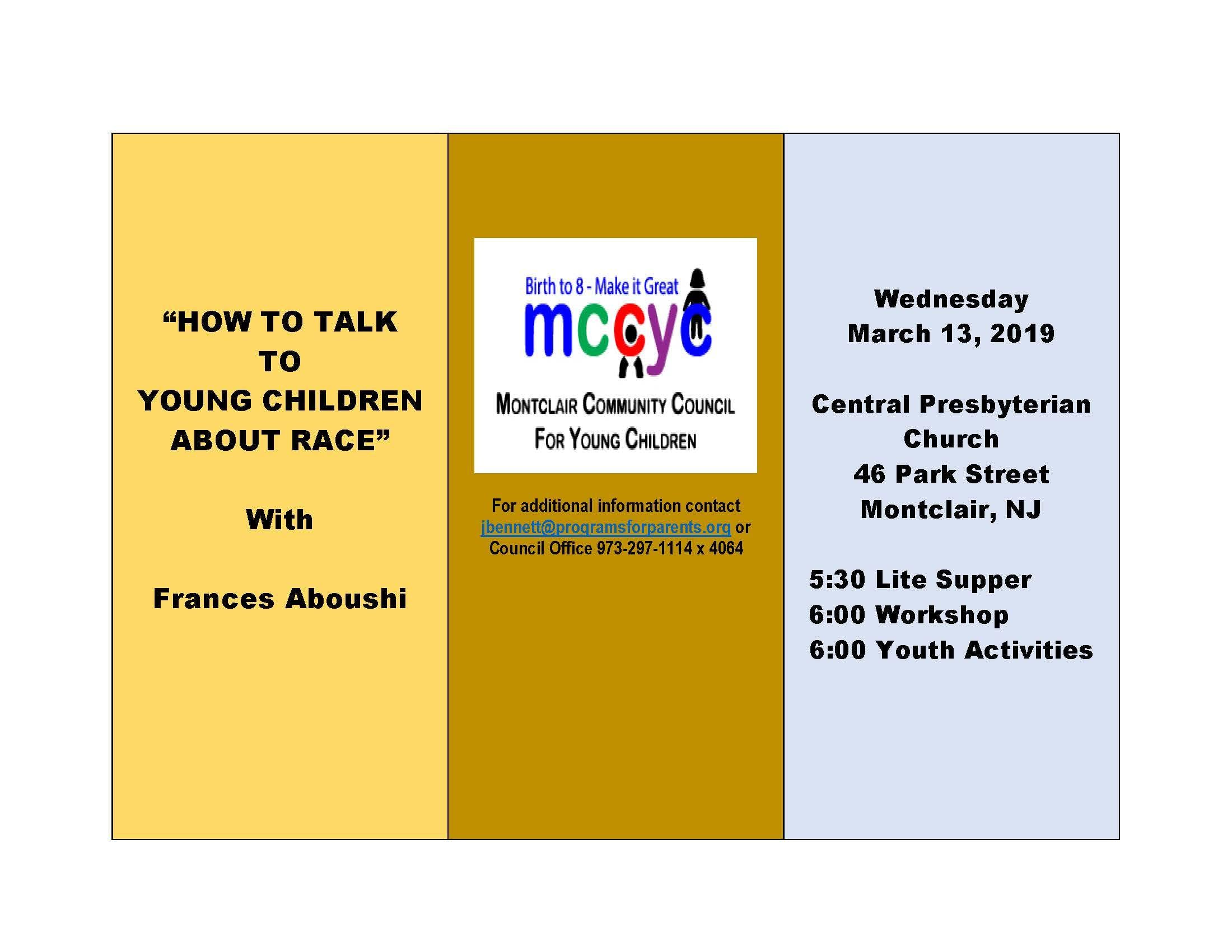 MCCYC presents `How to Talk to Young Children About Race
