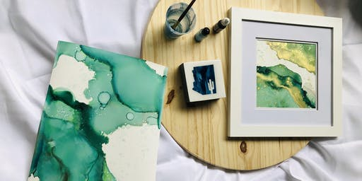 Alcohol ink  Workshop / Abstract framed art