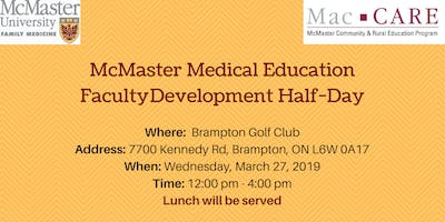 McMaster Medical Education - Faculty Development Half-Day
