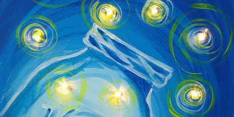 Fireflies Mason Jar Canvas Painting with lights Art Class Sip and Paint Party tickets
