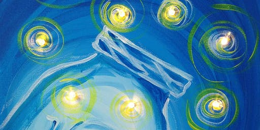 Fireflies Mason Jar Canvas Painting with lights Art Class Sip and Paint Party