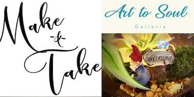 Art2Soul Make & Take DIY Hand Painted Sunflower Fairy Garden Terrariums