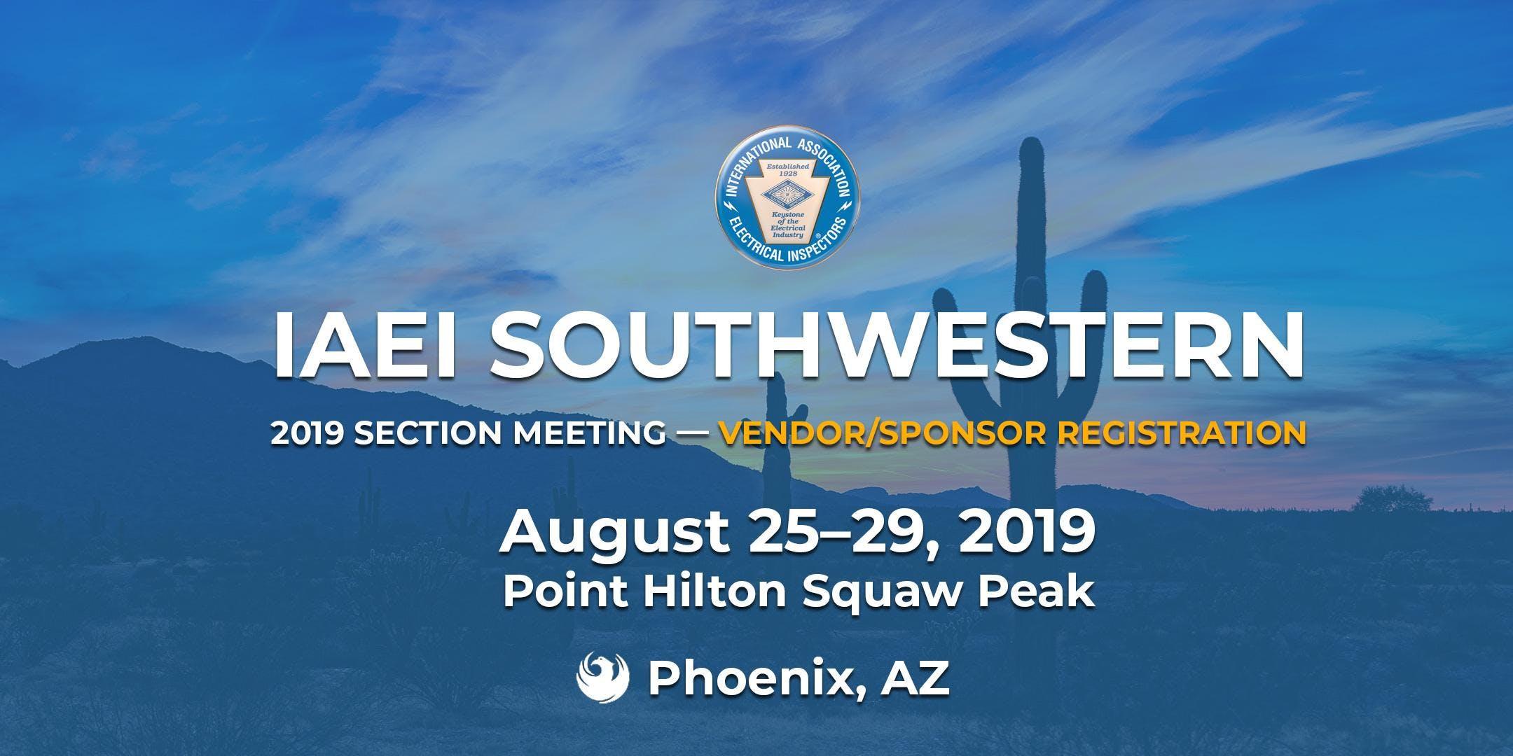 IAEI Southwestern 2019 Annual Section Meeting — Vendor Registration