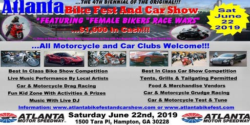 Atlanta Bike Fest And Car Show June 22, 2019 - $200.00 Merchandise Vendor Registration - While Last!!!
