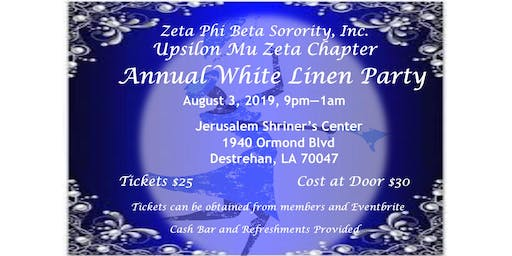 Zeta Phi Beta Sorority, Inc Upsilon Mu Zeta Chapter Annual White Linen Party