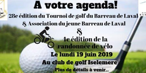 Tournoi de golf et randonnée de vélo du Barreau de Laval et de l'AJBL