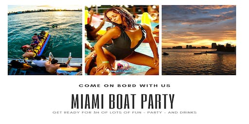 Miami Boat Party + Open Bar & Party-bus Included
