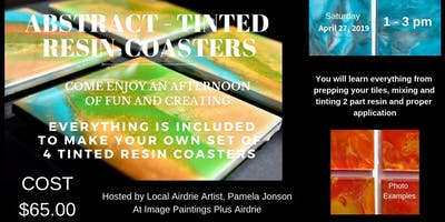 Abstract Tinted Resin Coasters Workshop