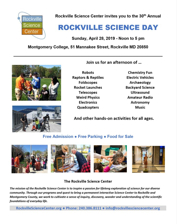 30th Rockville Science Day Tickets Sun Apr 28 2019 At 12 00 Pm