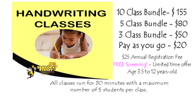 Handwriting Made Fun! Handwriting classes for children age 3.5 to 12 years-old.