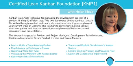 Certified Lean Kanban Foundation [KMP1] with Helen Meek tickets