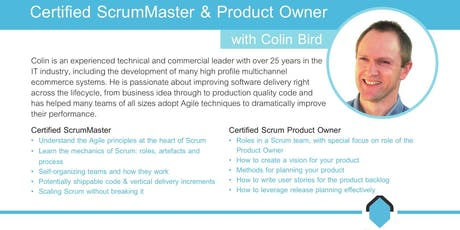 Certified Scrum Product Owner Course [CSPO] with Colin Bird tickets