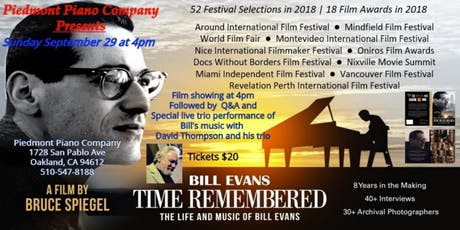 "Bill Evans Documentary ""Time Remembered"" and David Thompson Trio Live Jazz tickets"