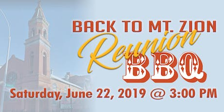 Back to Mt. Zion Reunion BBQ tickets