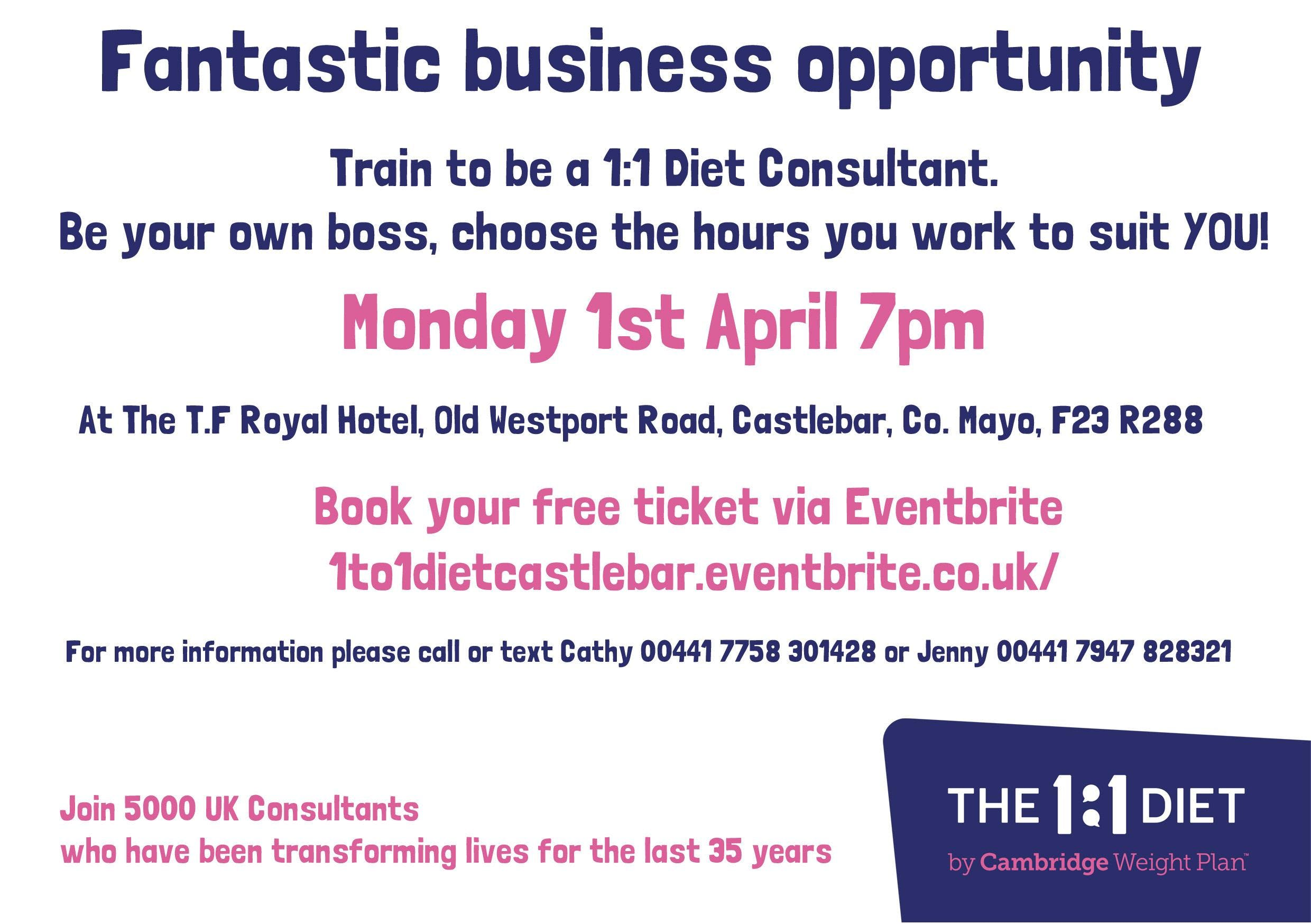 Business Opportunity Meeting - 1:1 Diet by Cambridge Weight Plan - Castlebar