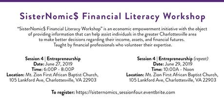 SisterNomic$ Financial Literacy Series | Entrepreneurship tickets
