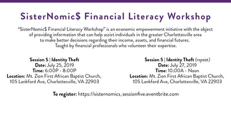 SisterNomic$ Financial Literacy Series | Identity Theft tickets
