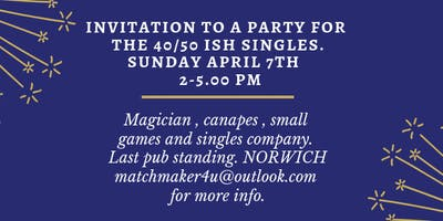 Party for singles 20/30 s  with a magician, canapes and small games to play