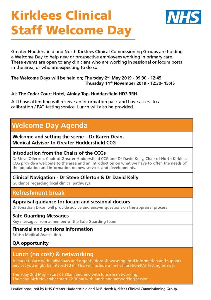 Kirklees Clinical Staff Welcome Day Tickets, Thu 14 Nov 2019 at 12