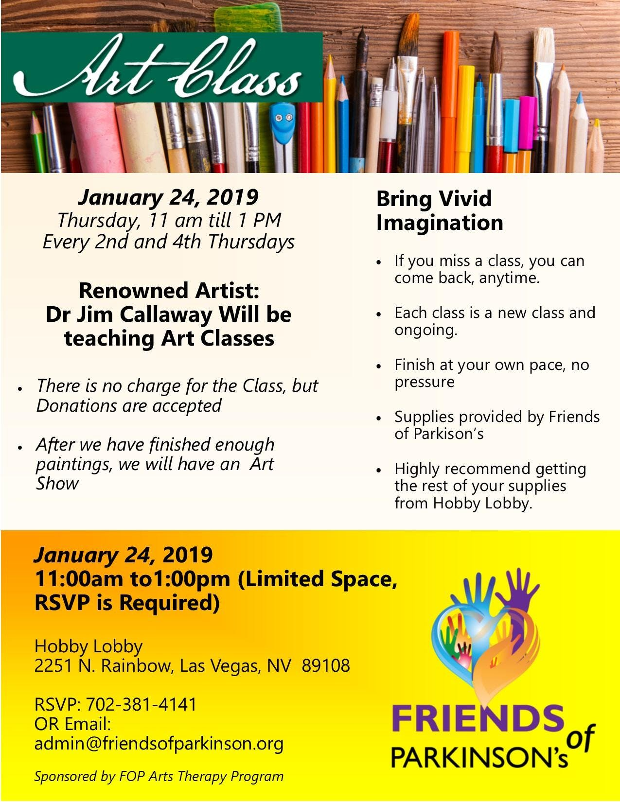 Free Art Classes with Friends of Parkinsons
