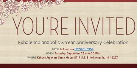 Exhale Indpls 3 Year Anniversary Celebration - READ DETAILS  tickets