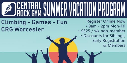 Rock Climbing Summer Vacation Program at Central Rock Gym Worcester
