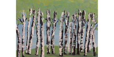 Summer Birch Trees Paint & Sip Night - Art Painting, Drink & Food