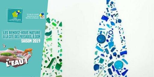 Atelier artistique: Construction d'une œuvre  avec des bouchons plastiques.