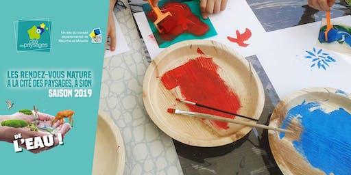 Atelier artistique: Pochoirs et tampons à l'eau (accès libre).