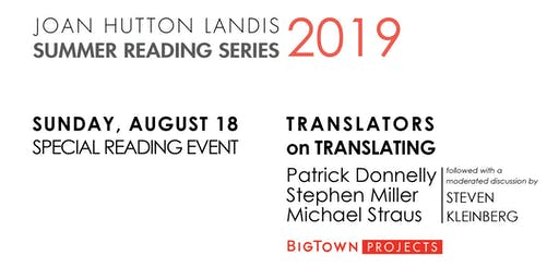 SPECIAL READING EVENT: Translators on Translating