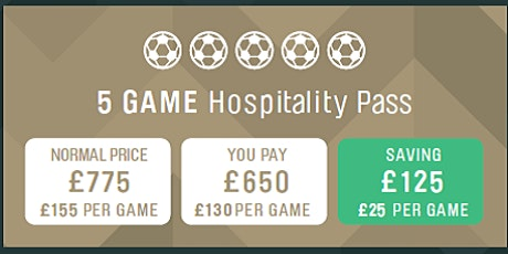 5 Game Pass - Match Day Hospitality 2019/20 Season tickets