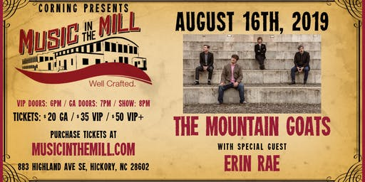 The Mountain Goats + Erin Rae at Music in the Mill