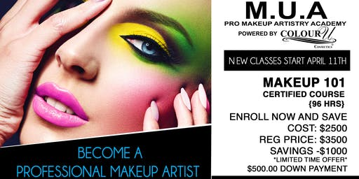Become A Professional Makeup Artist in 8 weeks! Classes start April 11th! Tickets, Thu, Apr 11, 2019 at 5:00 PM | Eventbrite