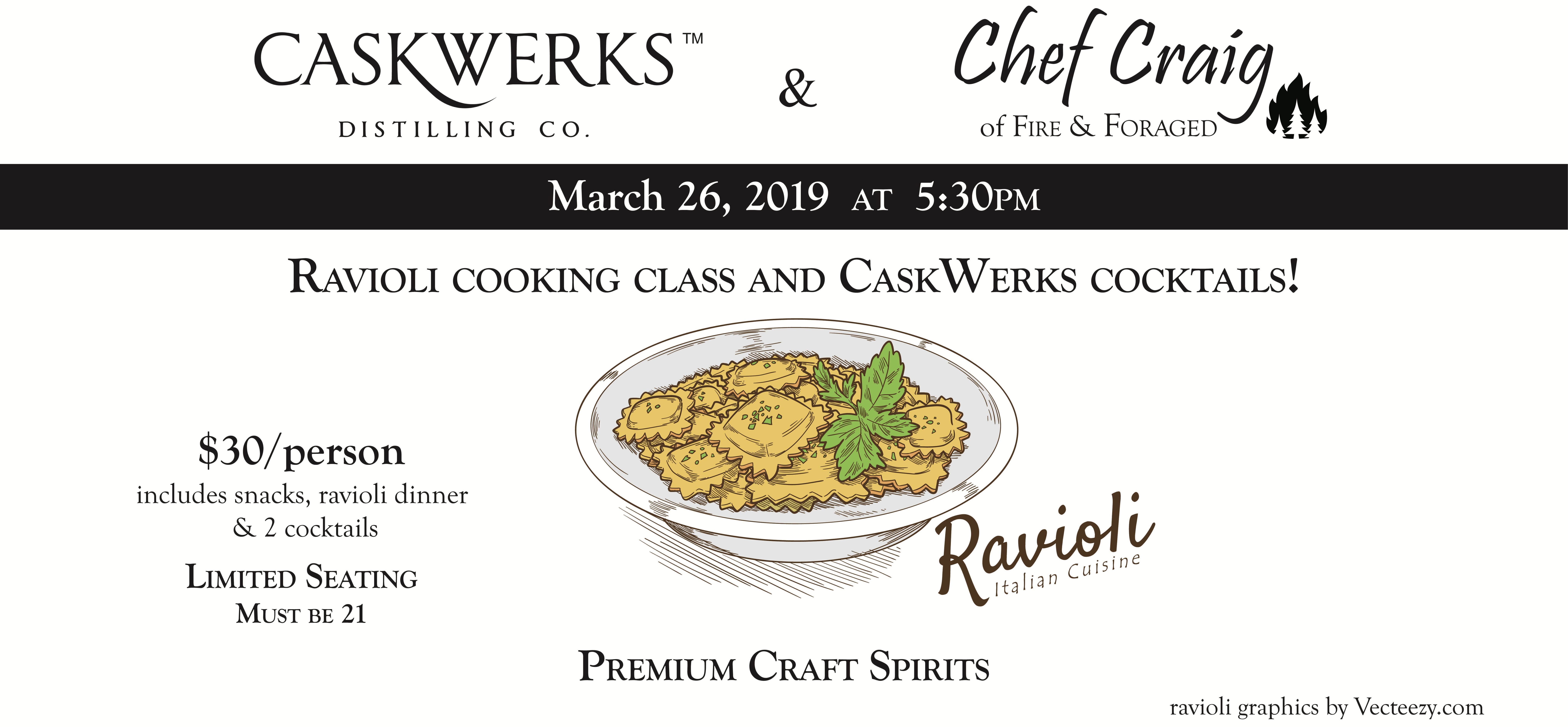 Ravioli Cooking Class with cocktails from CaskWerks Distilling Co.