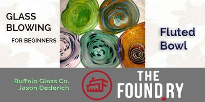 Beginner Glass Blowing 4/1 at The Foundry (fluted bowl)