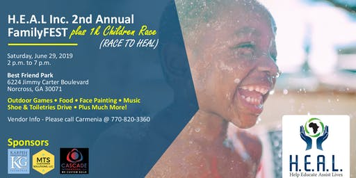 H.E.A.L Inc. 2nd Annual FamilyFest & 1K Children's Race (RACE TO HEAL)