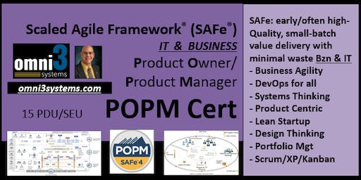 POPM_SAFe-Product Owner/Prod Mgr [POPM-Cert]-Bloomington-Illinois-15PDUs