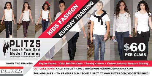 KIDS PROFESSIONAL FASHION MODEL RUNWAY TRAINING - AFFORDABLE PAY-AS-YOU-GO