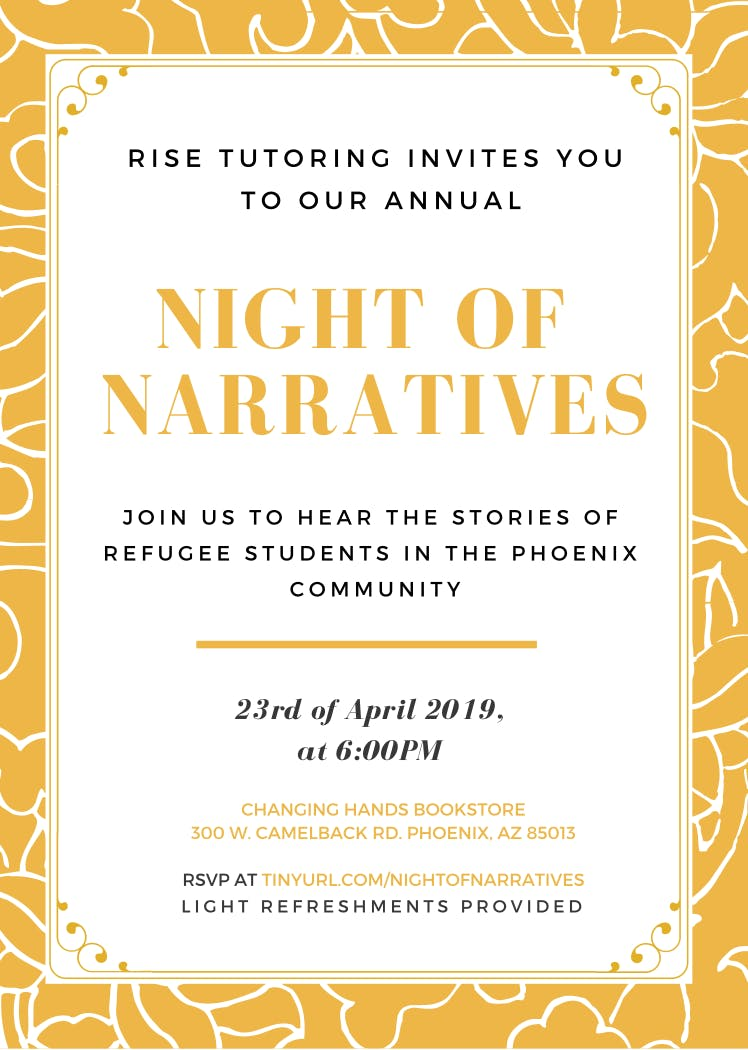 RISE Tutoring Presents: Night of Narratives, a Refugee Storytelling Event