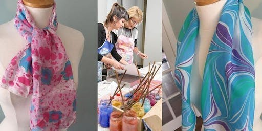 Art of Marbling on to pure silk /pure cotton fabrics workshop in Leeds