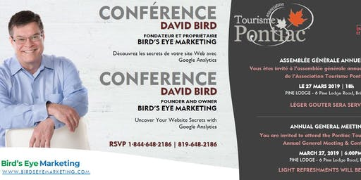 AGA Tourisme Pontiac AGM Conference: Google Analytics Tickets, Wed, 27 Mar 2019 at 6:00 PM | Eventbrite