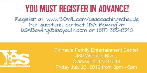 FREE USA Bowling Coach Certification Seminar - Pinnacle Family Entertainment Center, Clarksville, TN